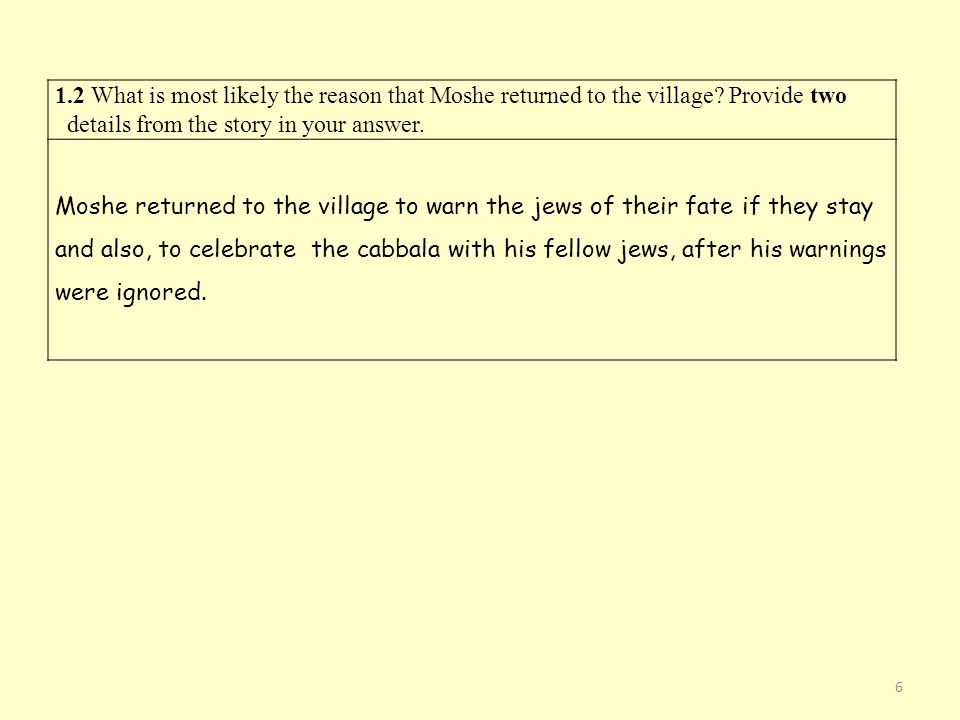 1. 2 What is most likely the reason that Moshe returned to the village