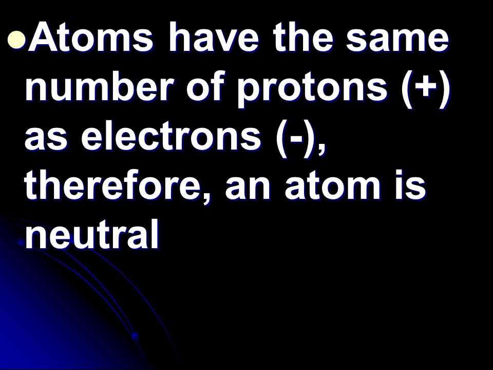 Atoms have the same number of protons (+) as electrons (-), therefore, an atom is neutral