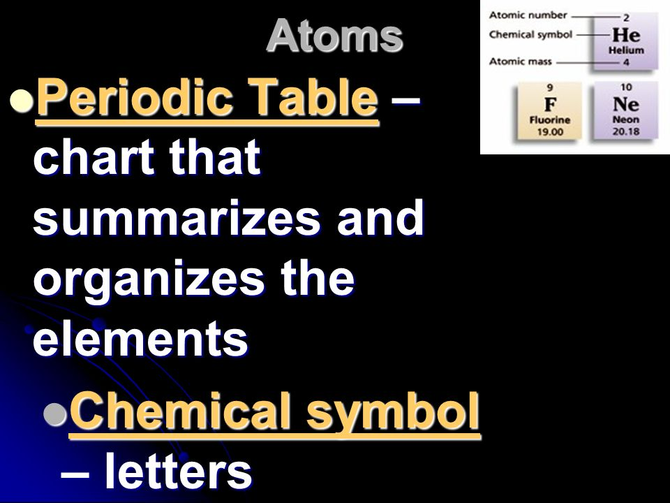 Periodic Table – chart that summarizes and organizes the elements