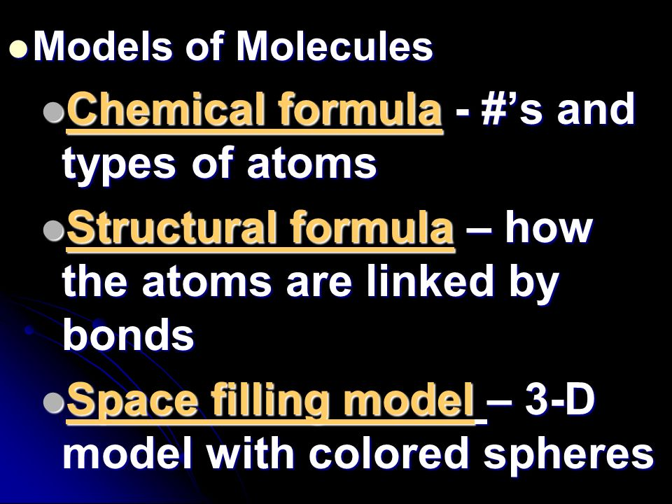 Chemical formula - #'s and types of atoms