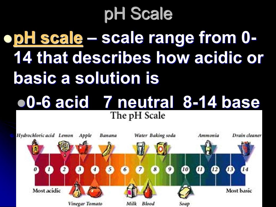 pH Scale pH scale – scale range from 0-14 that describes how acidic or basic a solution is.