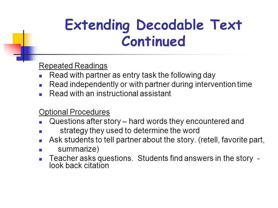 Extending Decodable Text Continued