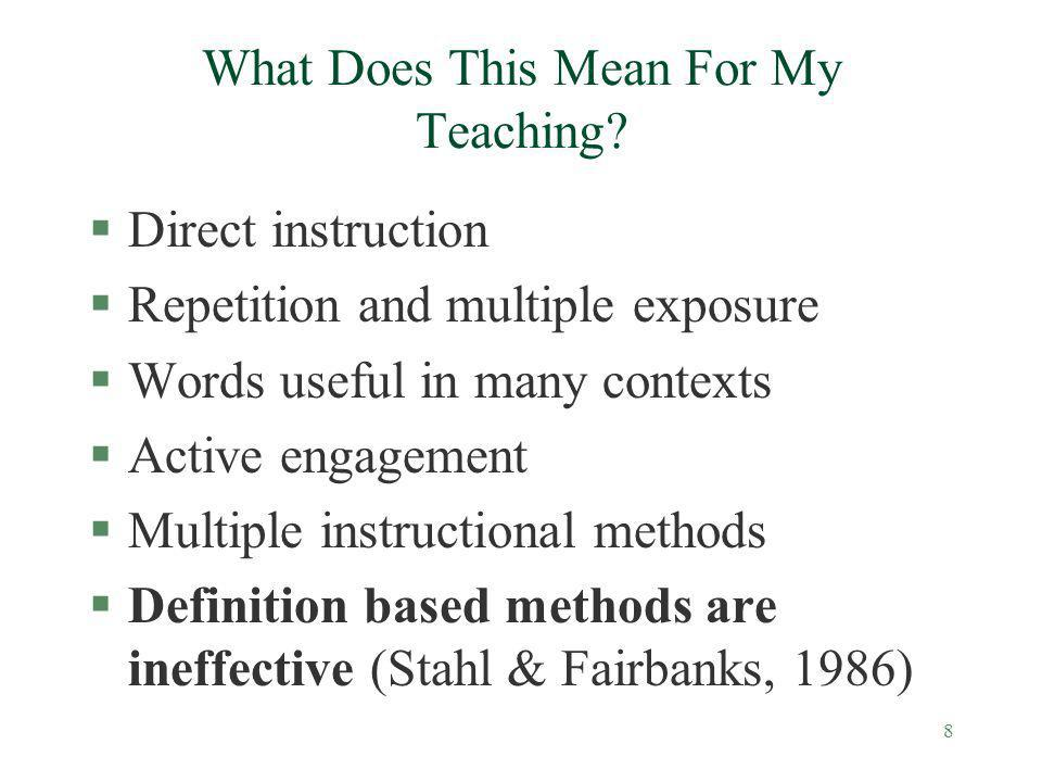 Vocabulary Instruction Has A Major Role In Improving Comprehension