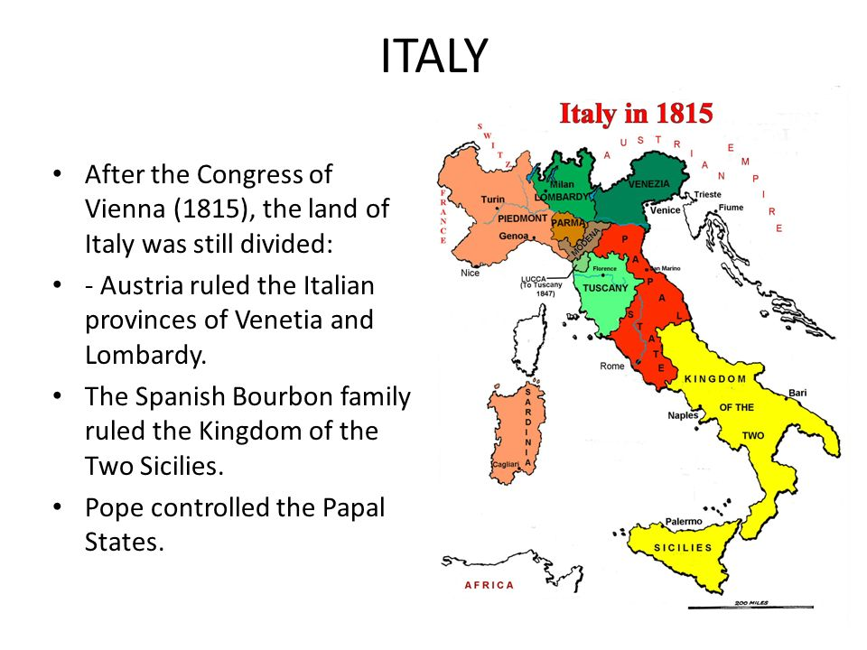 the similarities in the unification of germany and italy before the 1800s Italy followed a similar path to unification as germany during approximately the same time period rather than uniting through the efforts of one or two men, italy united under the leadership of several men.