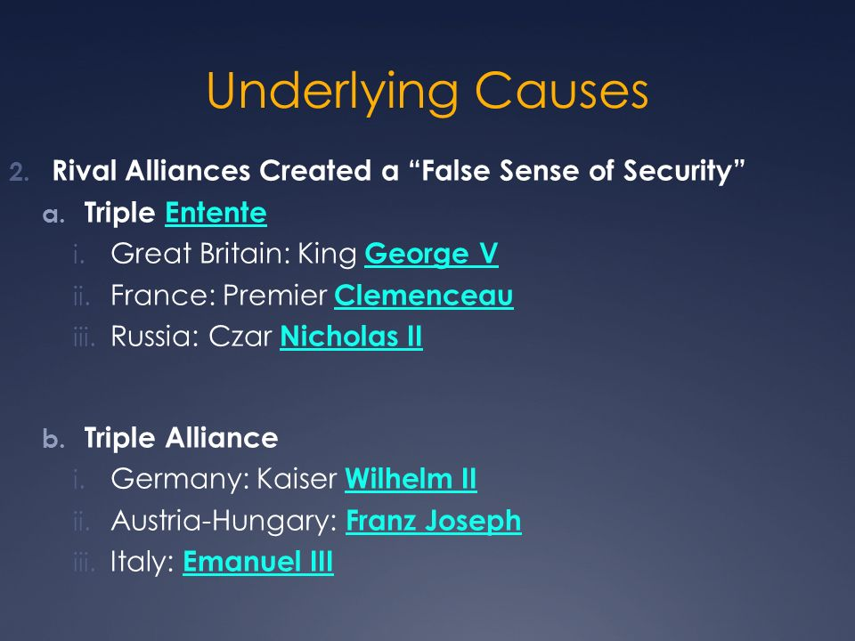 Underlying Causes Rival Alliances Created a False Sense of Security
