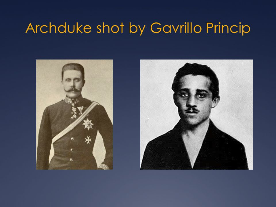 Archduke shot by Gavrillo Princip