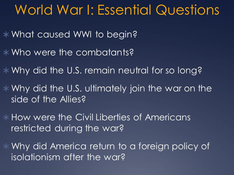World War I: Essential Questions