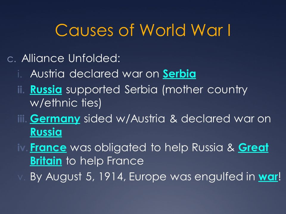 Causes of World War I Alliance Unfolded: