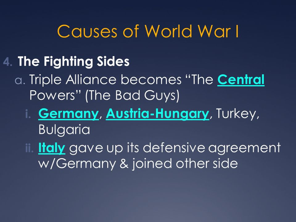 Causes of World War I The Fighting Sides