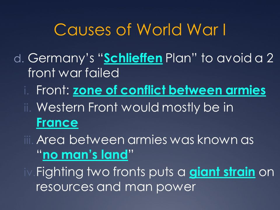 Causes of World War I Germany's Schlieffen Plan to avoid a 2 front war failed. Front: zone of conflict between armies.