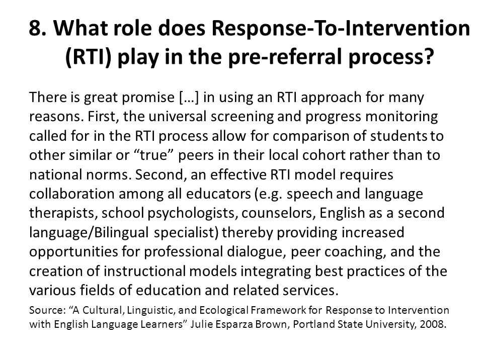 8. What role does Response-To-Intervention (RTI) play in the pre-referral process