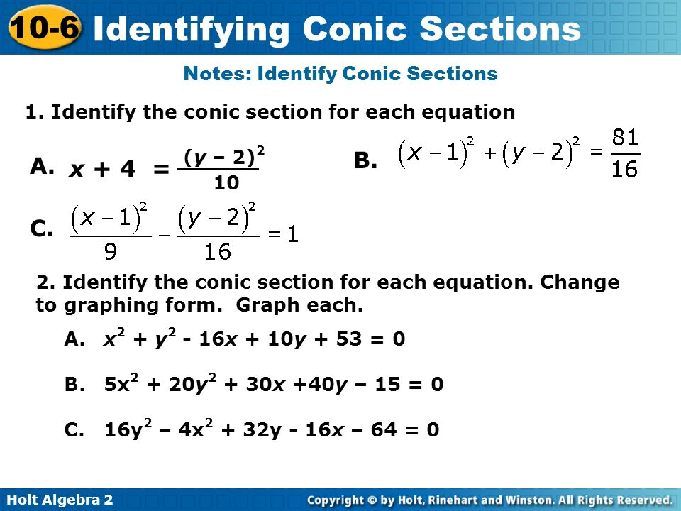 Notes: Identify Conic Sections