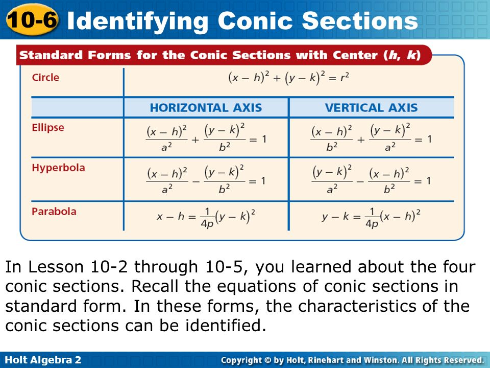 In Lesson 10-2 through 10-5, you learned about the four conic sections