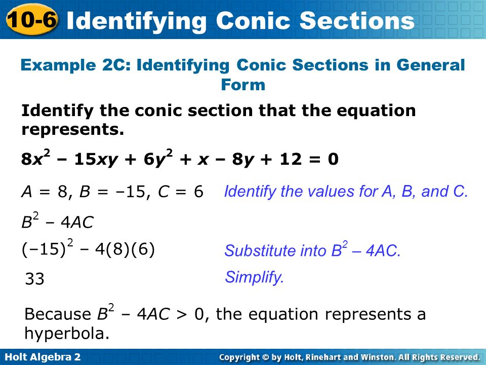 Example 2C: Identifying Conic Sections in General Form