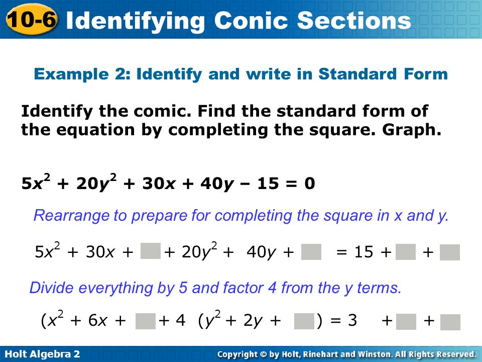 Example 2: Identify and write in Standard Form