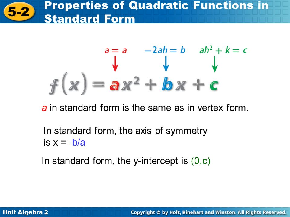 a in standard form is the same as in vertex form.