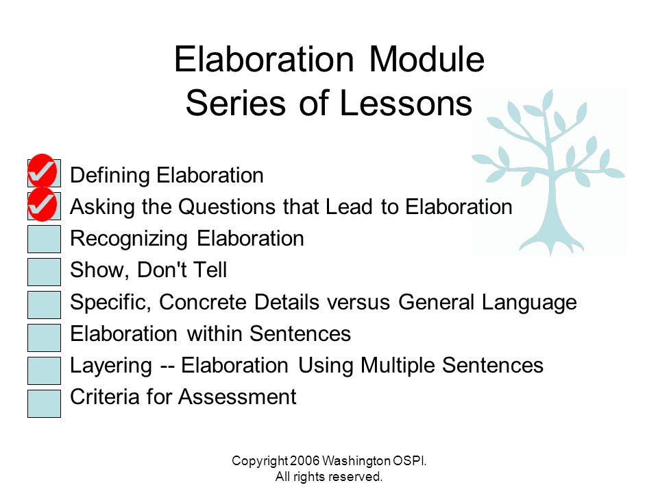 Elaboration Module Series of Lessons