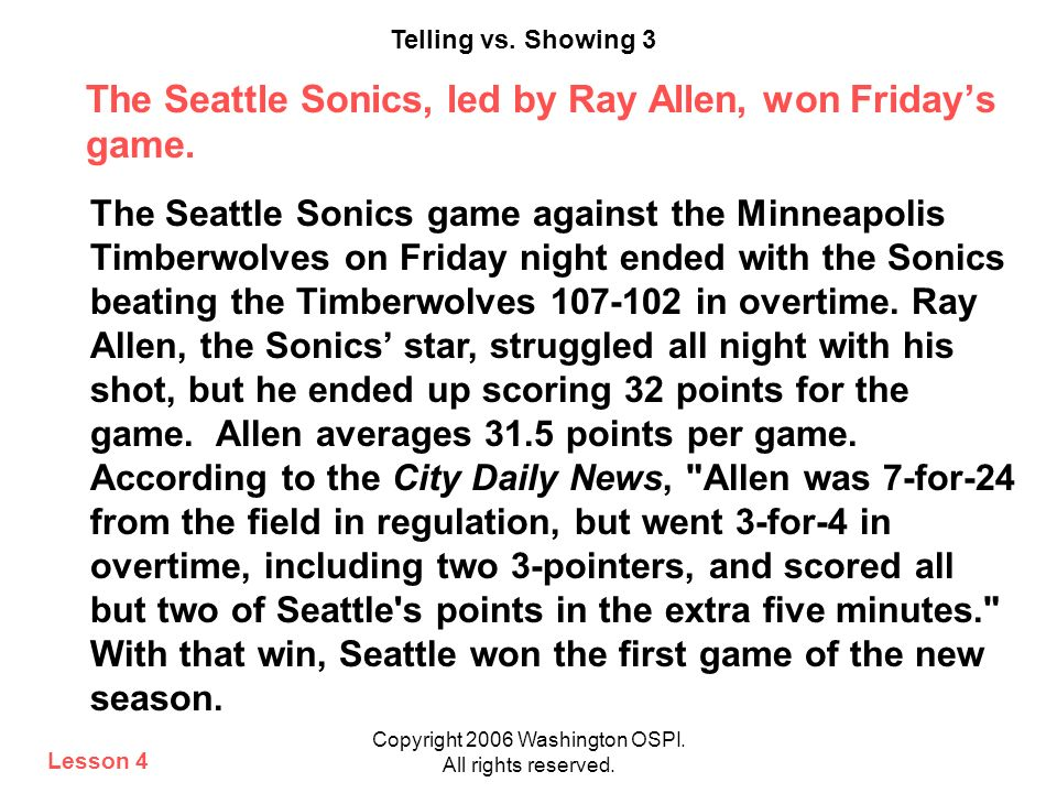 The Seattle Sonics, led by Ray Allen, won Friday's game.