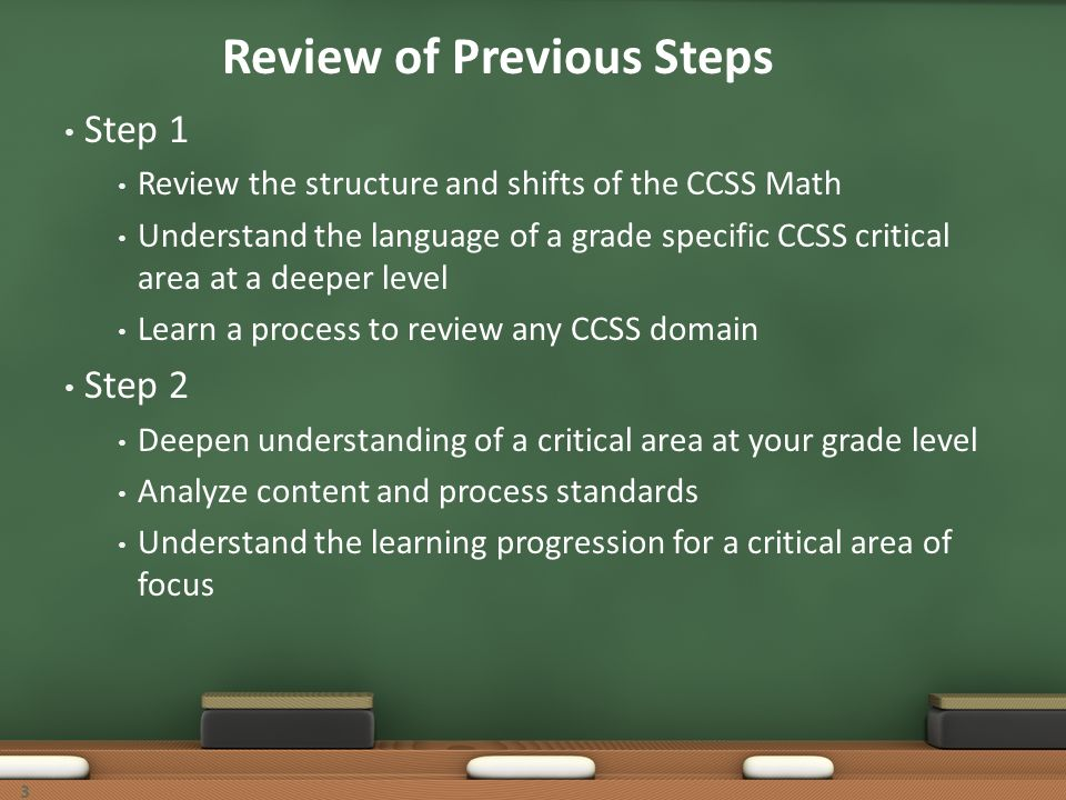 Review of Previous Steps