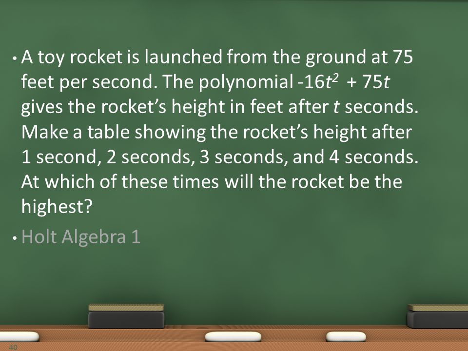 A toy rocket is launched from the ground at 75 feet per second