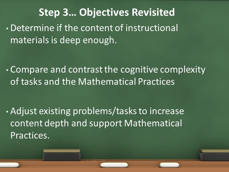 Step 3… Objectives Revisited