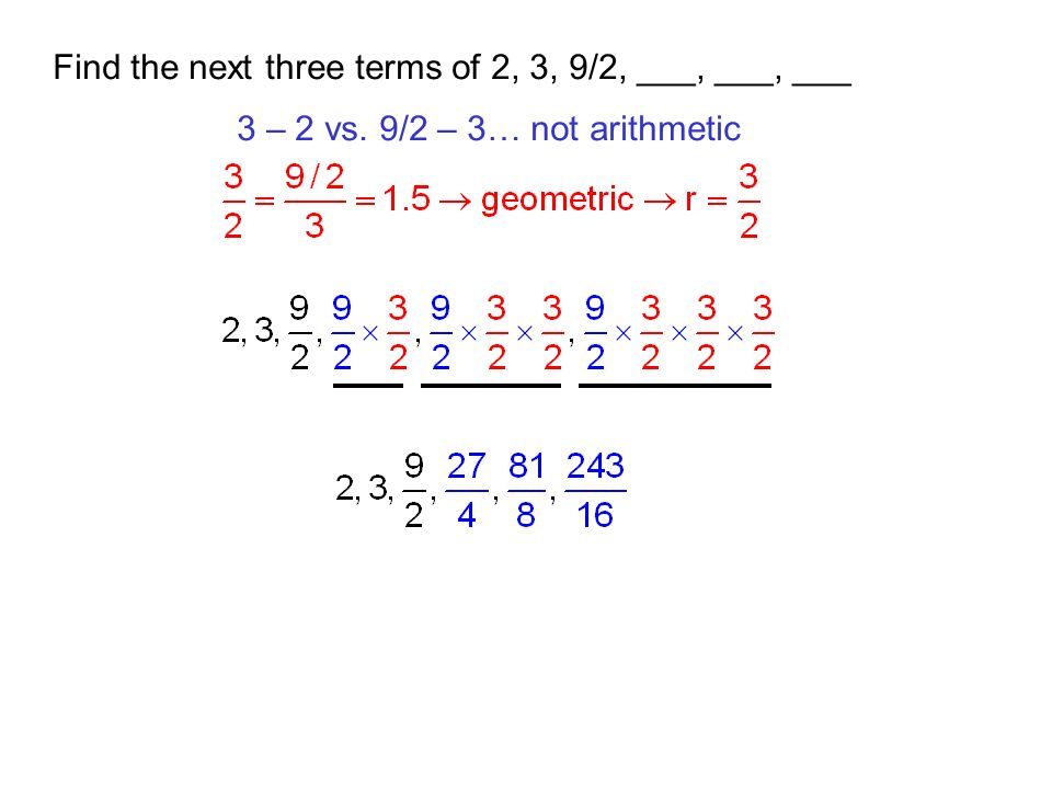 Find the next three terms of 2, 3, 9/2, ___, ___, ___
