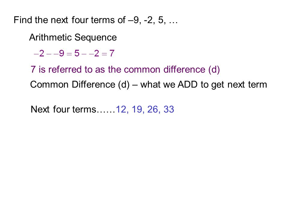 Find the next four terms of –9, -2, 5, …