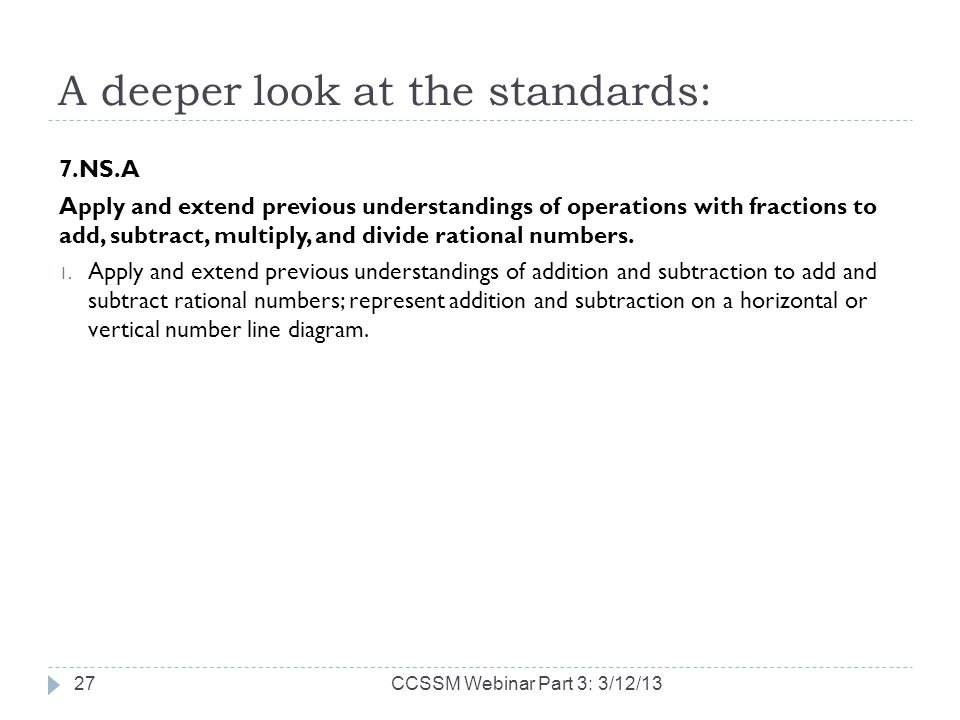 A deeper look at the standards: