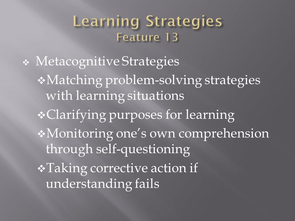 Learning Strategies Feature 13