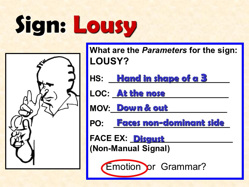 Sign: Lousy Hand in shape of a 3 At the nose Down & out