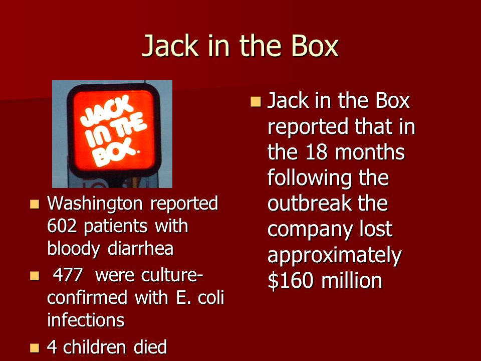 Jack in the Box Jack in the Box reported that in the 18 months following the outbreak the company lost approximately $160 million.