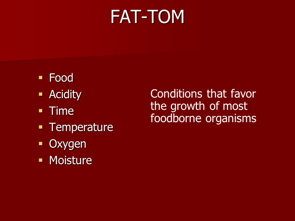 FAT-TOM Food Acidity Time