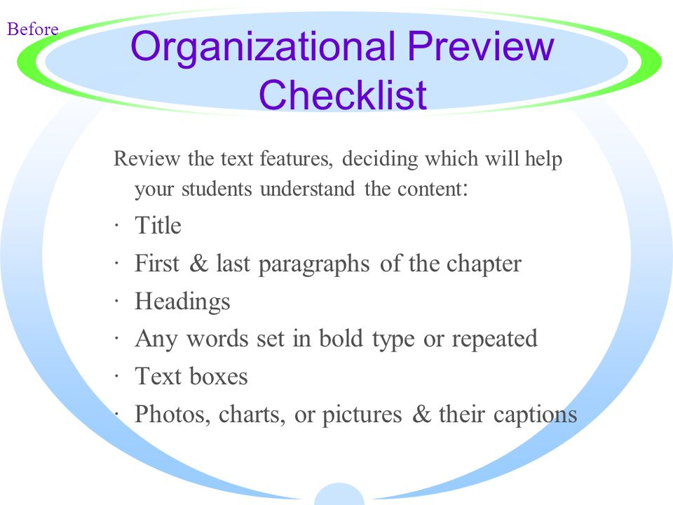 Organizational Preview Checklist