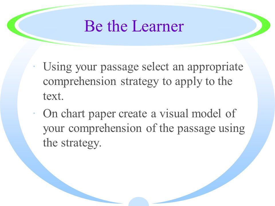Be the Learner Using your passage select an appropriate comprehension strategy to apply to the text.