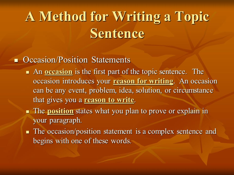 A Method for Writing a Topic Sentence