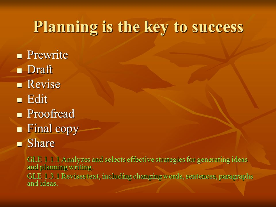 Planning is the key to success