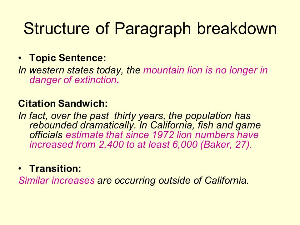 Structure of Paragraph breakdown