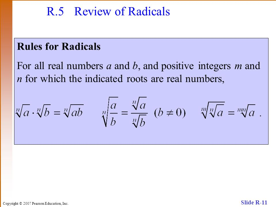 R.5 Review of Radicals Rules for Radicals