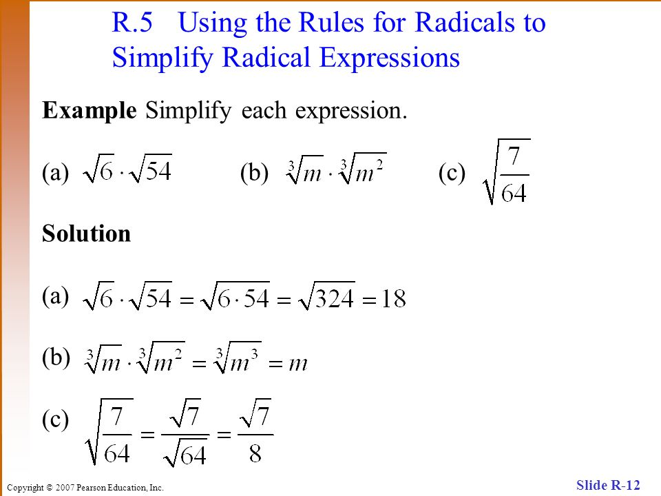 R.5 Using the Rules for Radicals to Simplify Radical Expressions