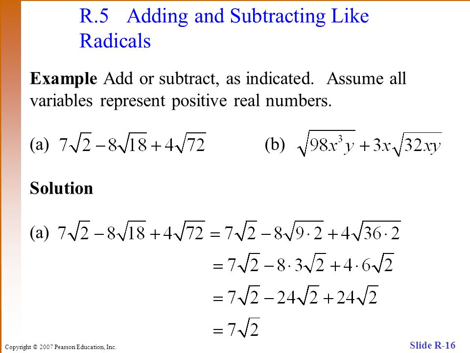 R.5 Adding and Subtracting Like Radicals
