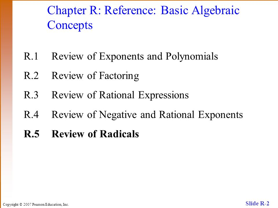 Chapter R: Reference: Basic Algebraic Concepts