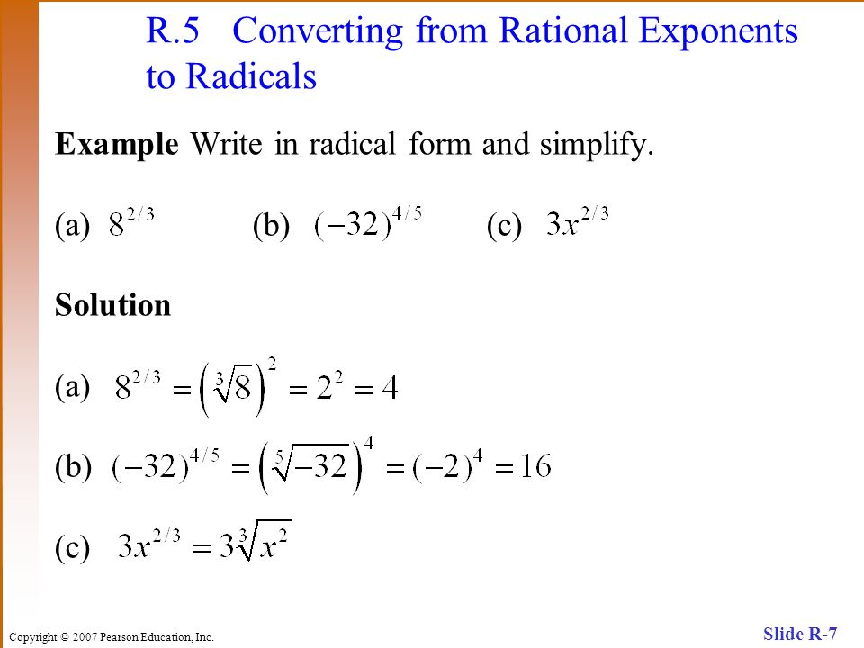 R.5 Converting from Rational Exponents to Radicals