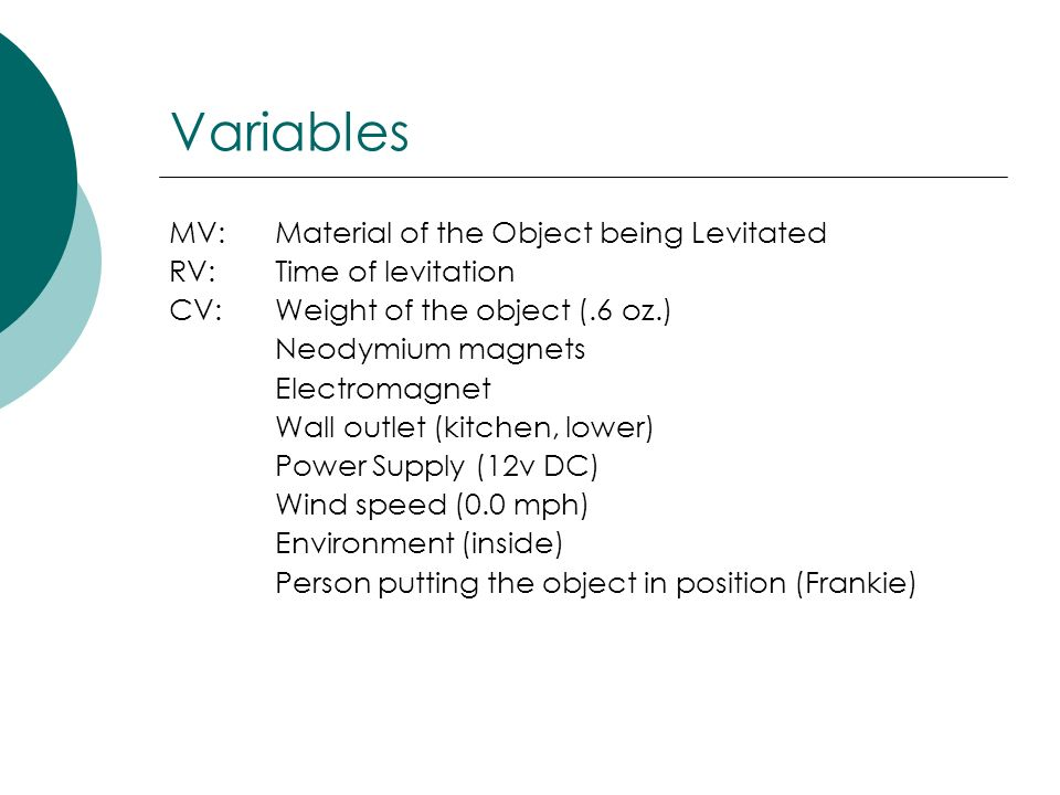 Variables MV: Material of the Object being Levitated