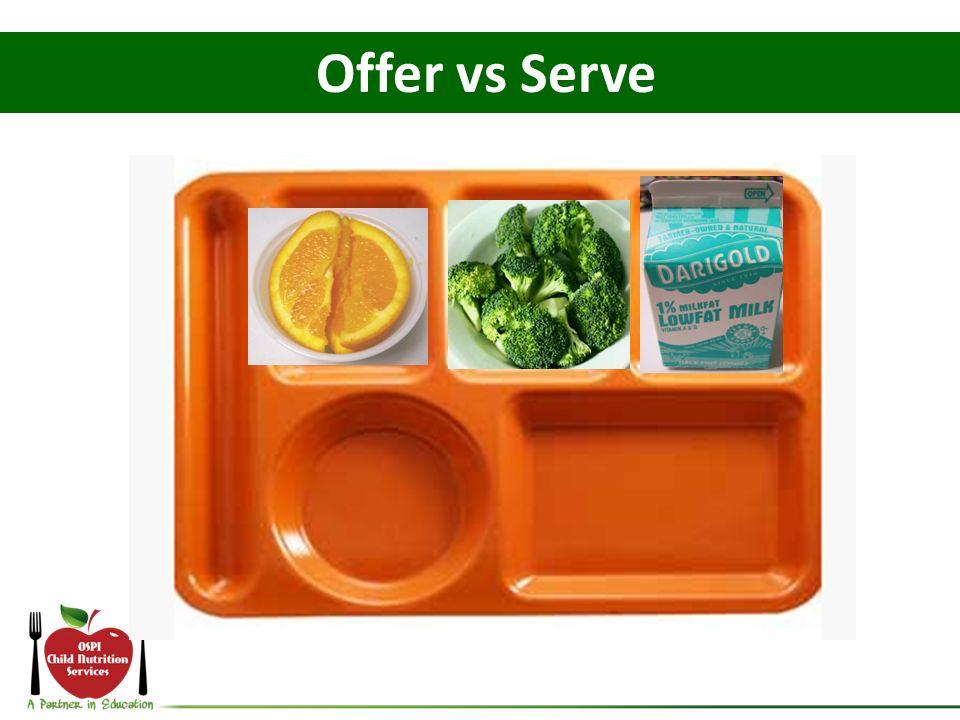 Offer vs Serve This student declines the burger For this tray: