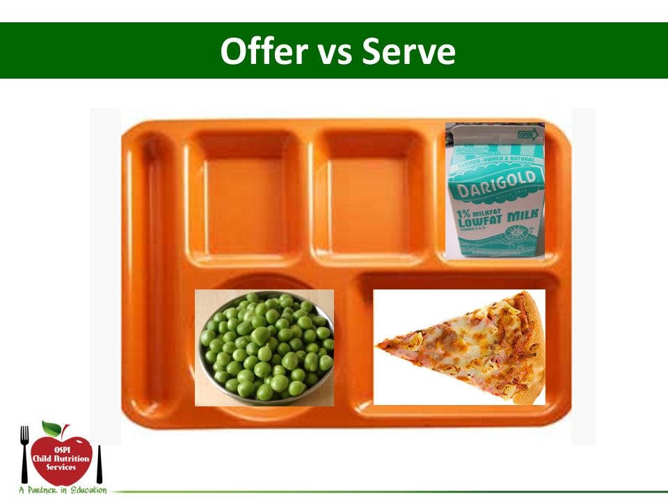 Offer vs Serve What if the student declines the blueberries and celery -How many components: 4.