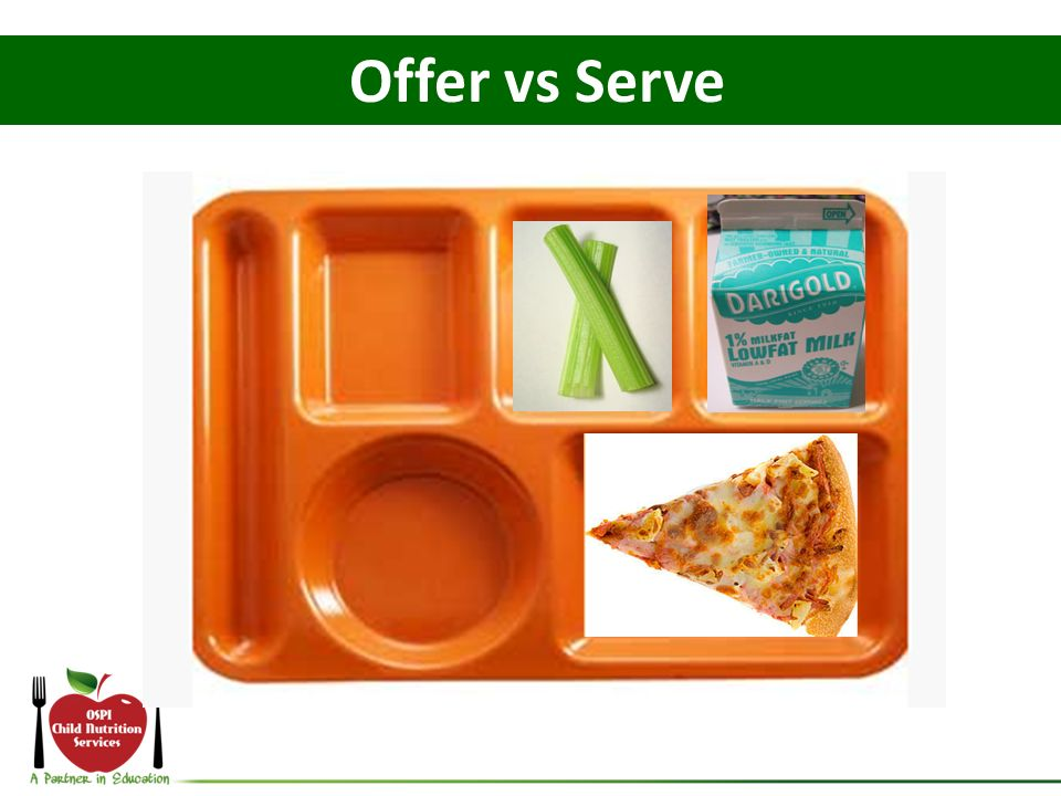 Offer vs Serve What if the student declines the blueberries and the peas For this tray: -How many components: 4.