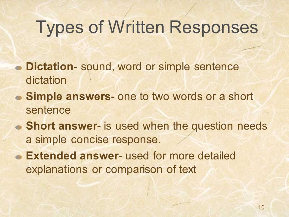 Types of Written Responses