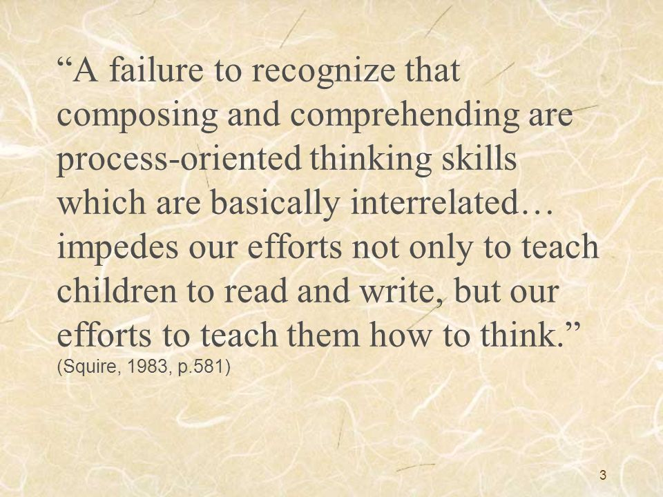 A failure to recognize that composing and comprehending are process-oriented thinking skills which are basically interrelated… impedes our efforts not only to teach children to read and write, but our efforts to teach them how to think. (Squire, 1983, p.581)