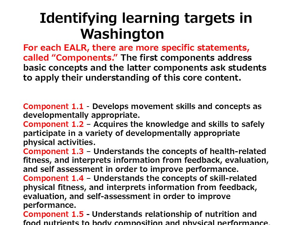 Washington Identifying learning targets in