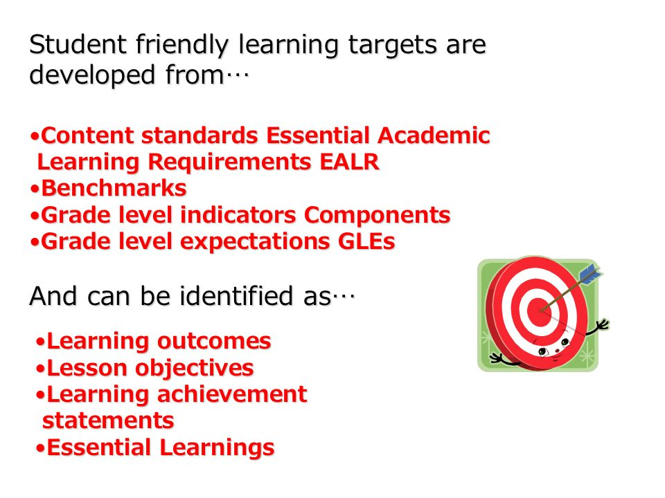 Student friendly learning targets are developed from…